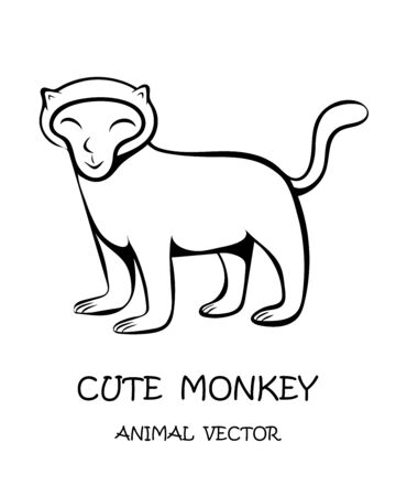 Vector illustration cartoon on a white background of a cute monkey. Stock Illustratie