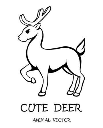 Vector illustration cartoon on a white background of a cute deer.