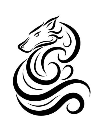 Line art vector of wolf. Can be used to make a logo Or decorative items