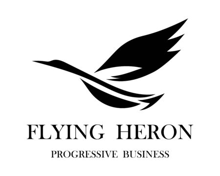 The abstract vector image of a flying heron is suitable for making logos or decorations.
