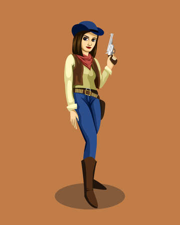 Vector illustration of a cute cowgirl standing, smiling and holding a gun.