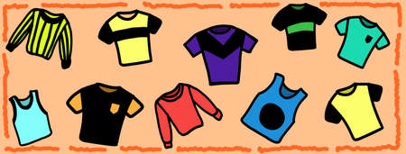 Vector images of many different t-shirts on a light orange background
