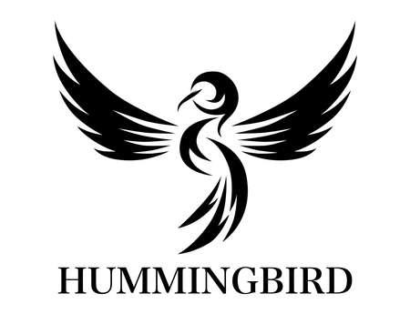 Flying hummingbird black line art Vector illustration on a white background of. Suitable for making logo. Иллюстрация