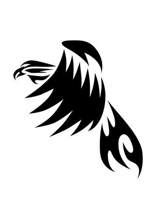 Line art vector of eagle that is flying.