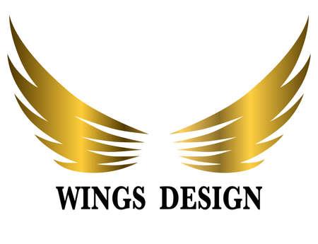 Golden animal wing logo design vector illustration suitable for branding or symbol.