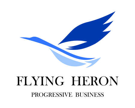 The abstract vector image of a flying heron