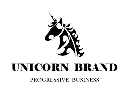 Line art vector logo of unicorn head. Suitable for use as logo.