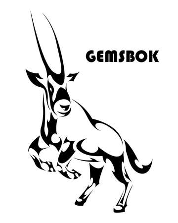Vector illustration of a gemsbok raising two front legs to prepare to run. It looks strong and powerful.