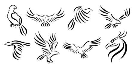 Set of eight line art vector logo of eagle. Can be used as a logo Or decorative items. Stock Illustratie