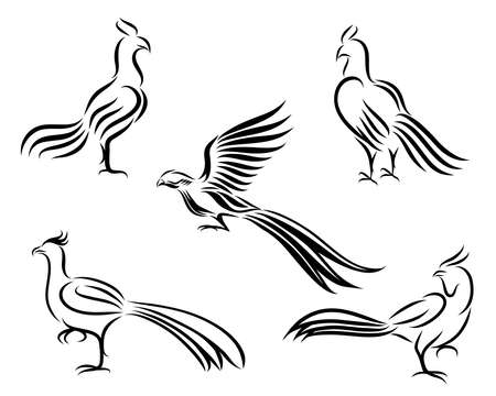 Chicken and pheasant line art vector picture It's a set of five pictures.