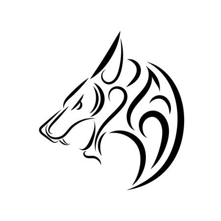 Black and white line art of wolf head. Good use for symbol, mascot, icon, avatar, tattoo, T Shirt design, logo or any design you want. Logo