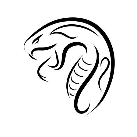 Black and white line art of snake head. Good use for symbol, mascot, icon, avatar, tattoo, T Shirt design, logo or any design you want.