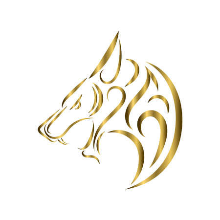 gold line art of wolf head. Good use for symbol, mascot, icon, avatar, tattoo, T Shirt design, logo or any design you want.