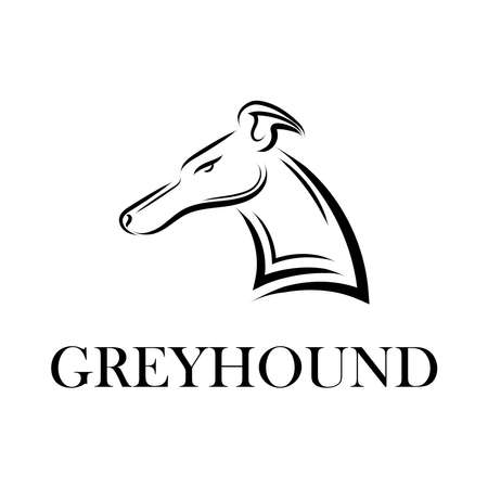 Black and white line art of Greyhound dog head. Good use for symbol, mascot, icon, avatar, tattoo, T Shirt design, logo or any design you want.