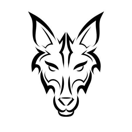 Black and white line art of wolf head. Good use for symbol, mascot, icon, avatar, tattoo, T Shirt design, logo or any design you want.