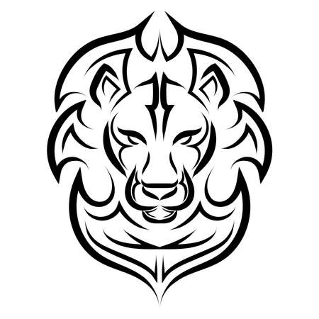 Black and white line art of the front of the lion's head. It is sign of leo zodiac. Good use for symbol, mascot, icon, avatar, tattoo, T Shirt design, logo or any design you want.