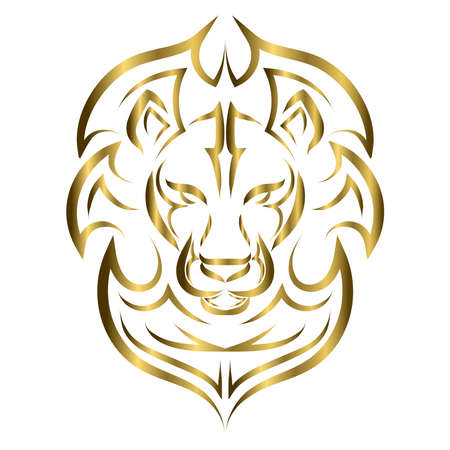 gold line art of the front of the lion's head. It is sign of leo zodiac. Good use for symbol, mascot, icon, avatar, tattoo, T Shirt design, logo or any design you want.