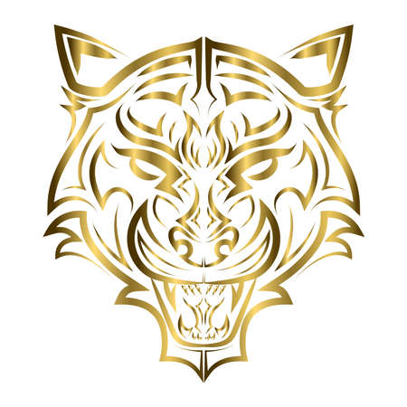gold line art of tiger head. Good use for symbol, mascot, icon, avatar, tattoo, T Shirt design, logo or any design you want.