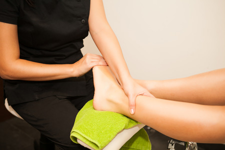 Feet massage during spa treatmen  스톡 사진