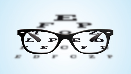 long sightedness: Glasses and optotypes. Stock Photo