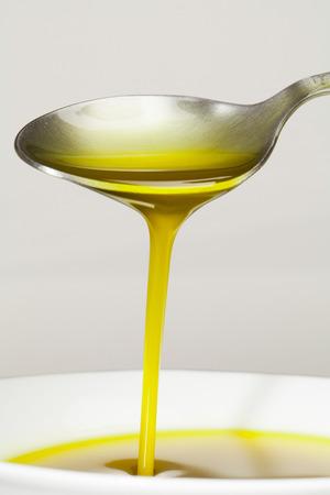 Extra virgin Olive Oil. Macro. 스톡 사진