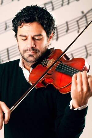 Musician playing violin with stave background