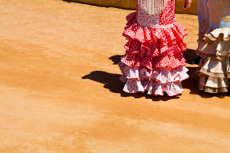 fringes: closeup of a flamenco costume typical of Spain Stock Photo