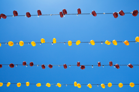 Typical lights in a andalusian fair. Stock Photo