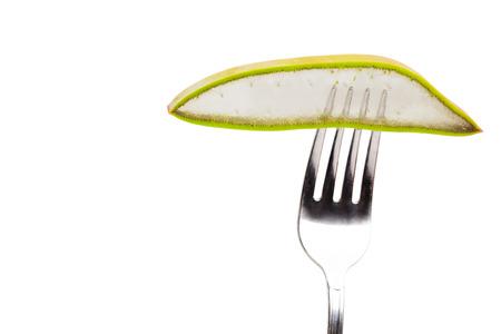 Slice of Aloe Vera in a fork Stock Photo