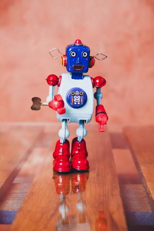 tin robot: Vintage tin robot. Stock Photo