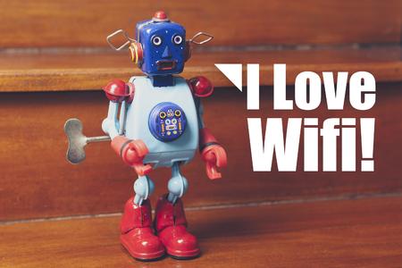 tin robot: Tin robot with I love wifi text.