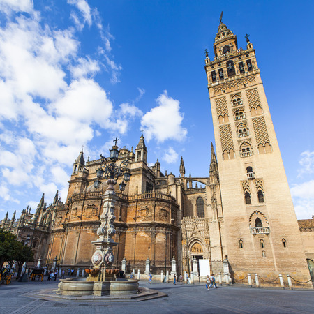 Seville Cathedral from street. Gothic style cathedral in Andalusia, Spain.