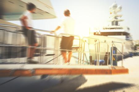 sailing crew: Sailing crew background. Zoom effect.
