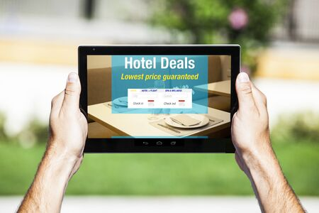 hotel booking: Hotel and restaurant booking on a tablet screen.