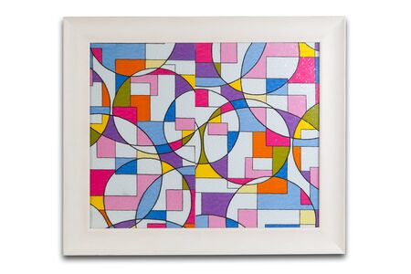 blank spaces: White frame with abstract color design inside.