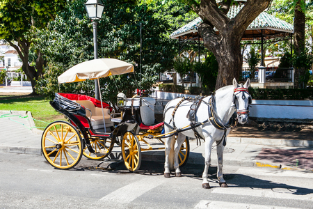 southern: White horse and carriage in Andalusian street. Stock Photo