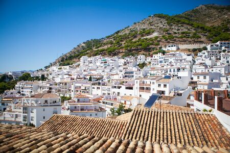 panoramic roof: Roofs and white houses in a typical white village of Andalusia, Spain.