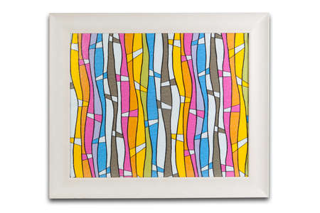 Isolated white frame with colorful background inside.