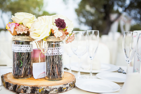 setting: Wedding lunch table with ornament decor. Stock Photo