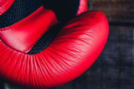 boxing equipment: Detail of red boxing glove. Stock Photo