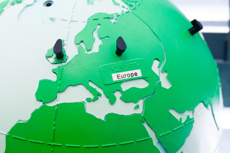 infantile: Close up of world map globe with focus in Europe. Stock Photo