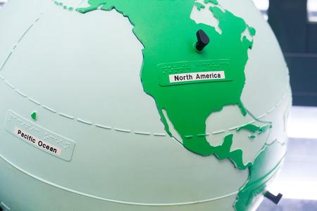 World map globe. North America. Stock Photo