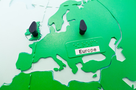sightless: World map globe. Close up of Europe continent. Stock Photo