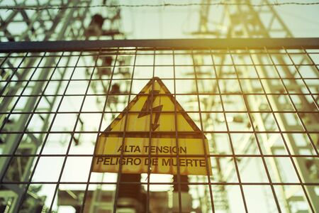electric station: High voltage sign on a electric station.