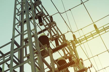 transformator: Power electric transformer station close up detail, vintage tone.