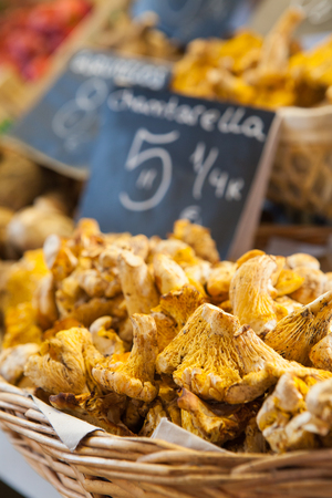 sylvan: Chantarellus mushrooms at the market.