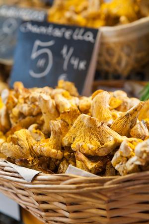 Chantarellus mushrooms at the market.