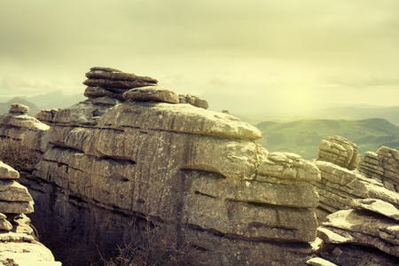 Karst rocks landscape in El Torcal of Antequera. Andalusia, Spain. Stock Photo