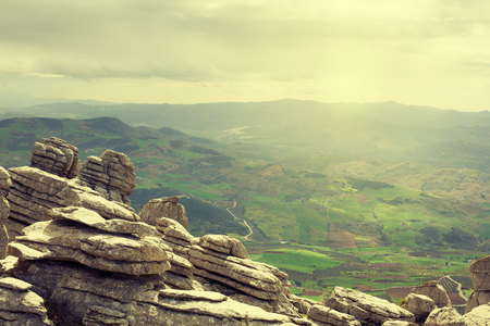 in the rock: Karst rocks landscape in El Torcal of Antequera. Andalusia, Spain. Stock Photo