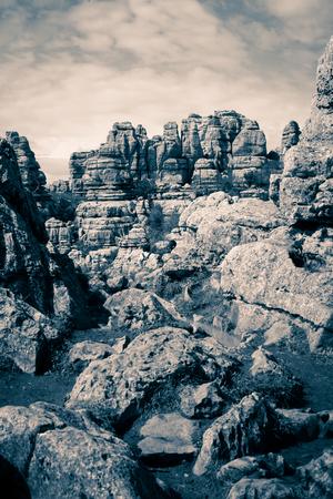 Karst rock formation landscape. Dramatic black and white tone.